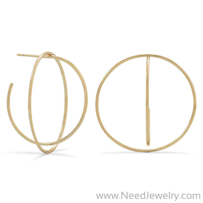 14 Karat Gold Plated 3/4 Criss-Cross Hoops-Earrings-Needjewelry.com