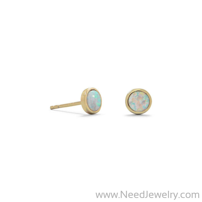 14 Karat Gold Plated Synthetic White Opal Studs-Earrings-Needjewelry.com