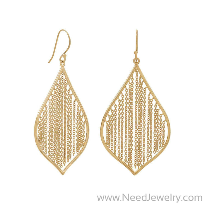 14 Karat Gold Plated Fringe Leaf Earrings-Earrings-Needjewelry.com
