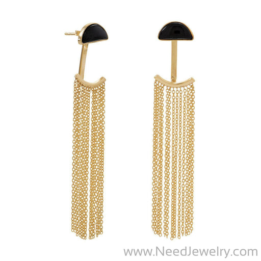14 Karat Gold Plated Black Onyx and Fringe Front Back Earrings-Earrings-Needjewelry.com