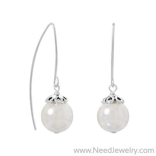 Sterling Silver Glass Pearl Wire Earrings-Earrings-Needjewelry.com