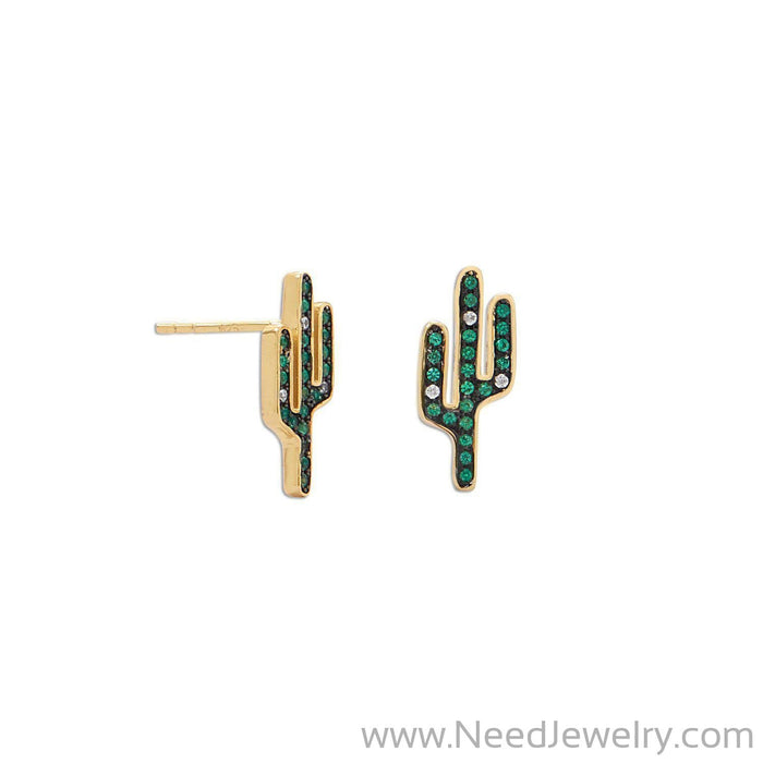 14 Karat Gold Plated CZ Saguaro Cactus Stud Earrings-Earrings-Needjewelry.com