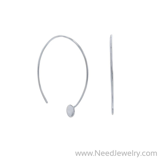 Rhodium Plated Threader Dot End Earring-Earrings-Needjewelry.com