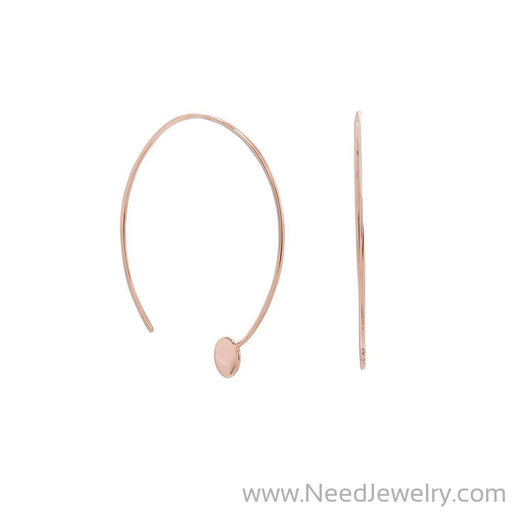 14 Karat Rose Gold Plated Threader Dot End Earring-Earrings-Needjewelry.com