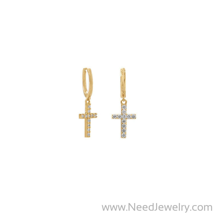 14 Karat Gold Plated Hoop Earrings with CZ Cross-Earrings-Needjewelry.com