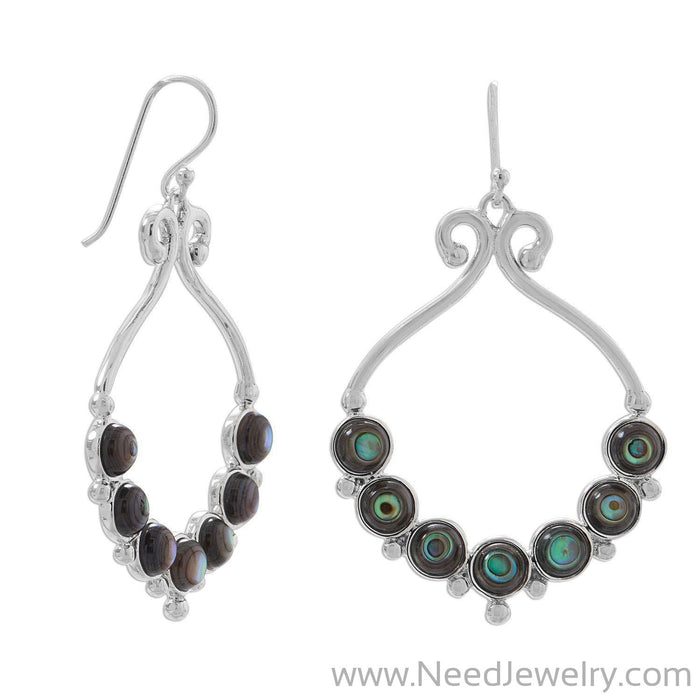 Polished Paua Shell Outline and Bead Design French Wire Earrings-Earrings-Needjewelry.com