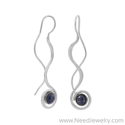 Polished Long Wavy Threader Earrings with Lapis-Earrings-Needjewelry.com