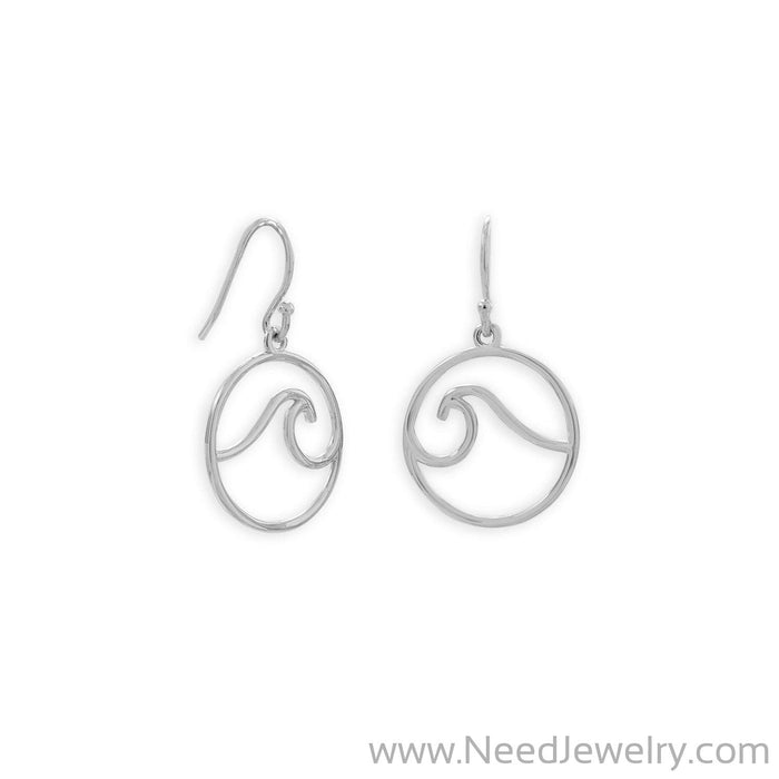 Rhodium Plated Outline Wave French Wire Earrings-Earrings-Needjewelry.com