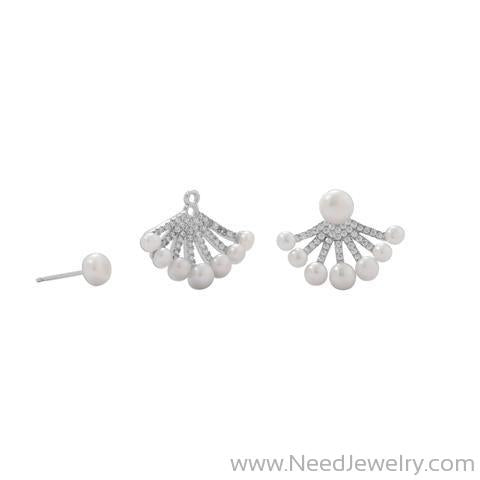 Rhodium Plated CZ and Cultured Freshwater Pearl Front/Back Earrings-Earrings-Needjewelry.com