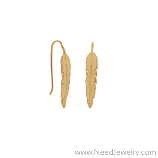 14 Karat Gold Plate Feather Earrings-Earrings-Needjewelry.com