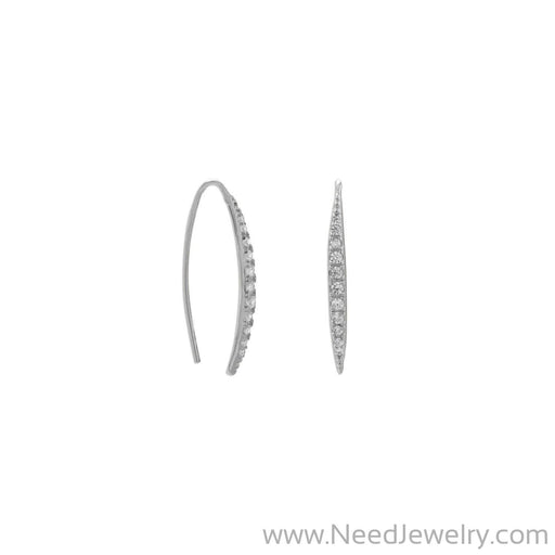Rhodium Plated Graduated CZ Vertical Bar Earrings-Earrings-Needjewelry.com