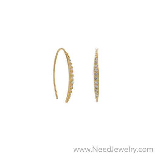 14 Karat Gold Plated Graduated CZ Vertical Bar Earrings-Earrings-Needjewelry.com