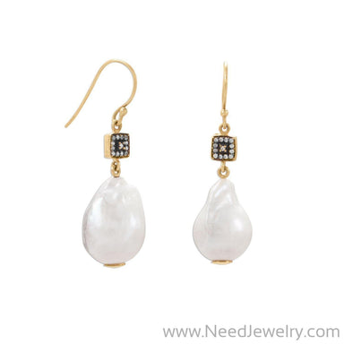 14 Karat Gold Plated CZ and Baroque Cultured Freshwater Pearl Earrings-Earrings-Needjewelry.com