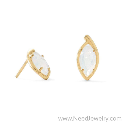 14 Karat Gold Plated Marquise Rainbow Moonstone Post Earrings-Earrings-Needjewelry.com