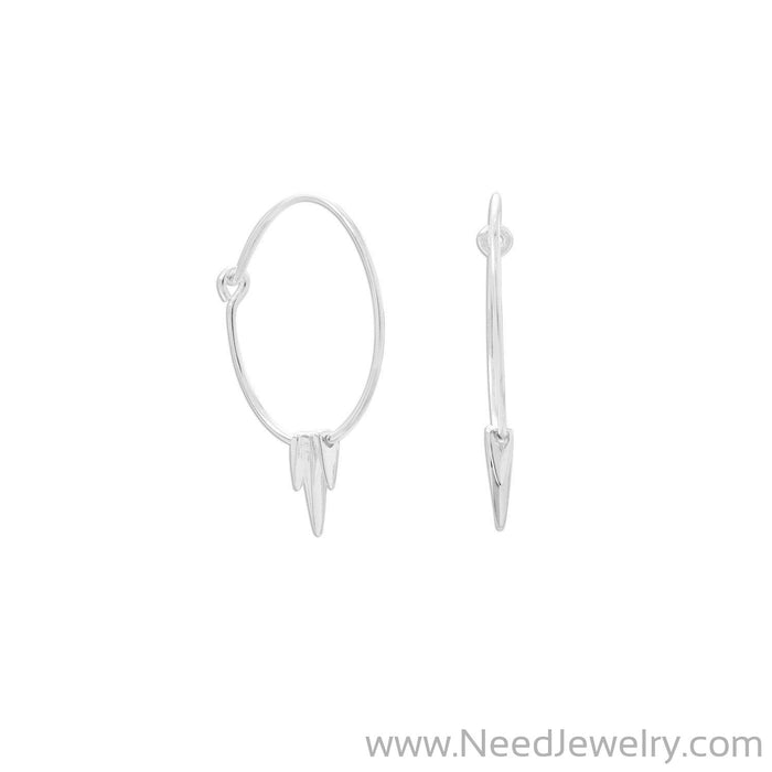 Polished Wire Hoops with Spikes-Earrings-Needjewelry.com