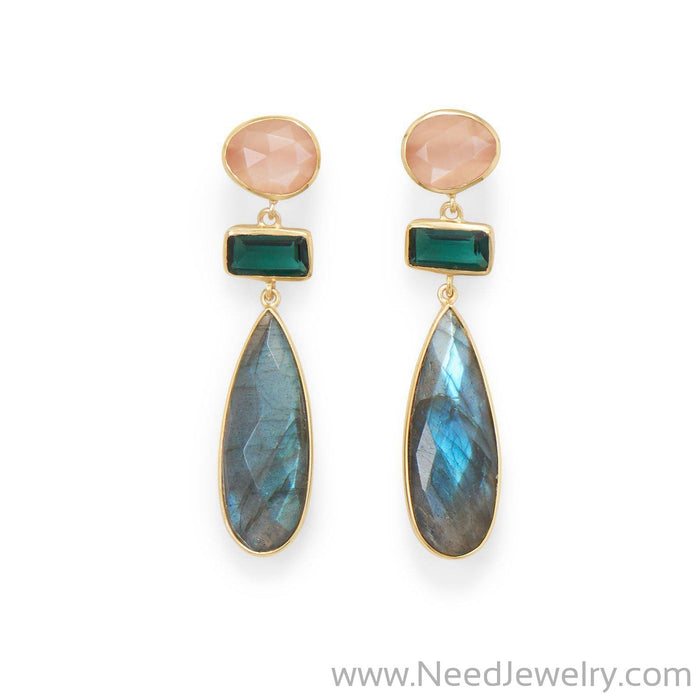 14 Karat Gold Plated Multi Stone Post Earrings-Earrings-Needjewelry.com