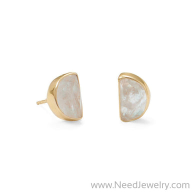 14 Karat Gold Plated Half Moon Rainbow Moonstone Post Earrings-Earrings-Needjewelry.com