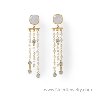 14 Karat Gold Plated Rainbow Moonstone Post Earrings-Earrings-Needjewelry.com