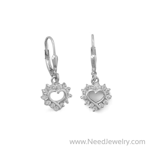 Rhodium Plated Cutout CZ Heart Lever Earrings-Earrings-Needjewelry.com