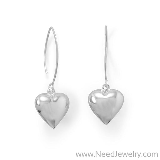 Puffy Polished Heart Wire Earrings-Earrings-Needjewelry.com