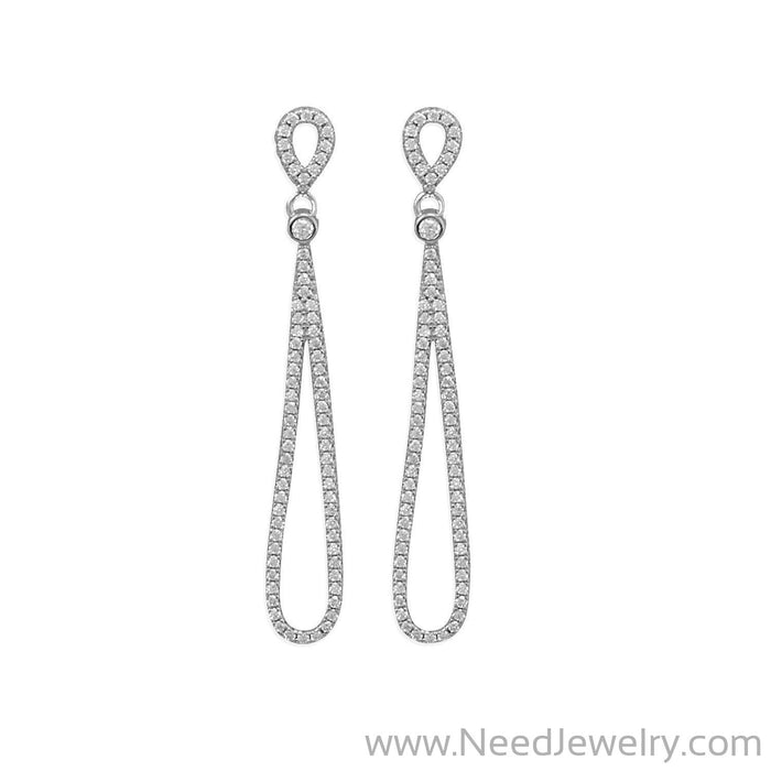 Rhodium Plated CZ Pear Drop Earrings-Earrings-Needjewelry.com