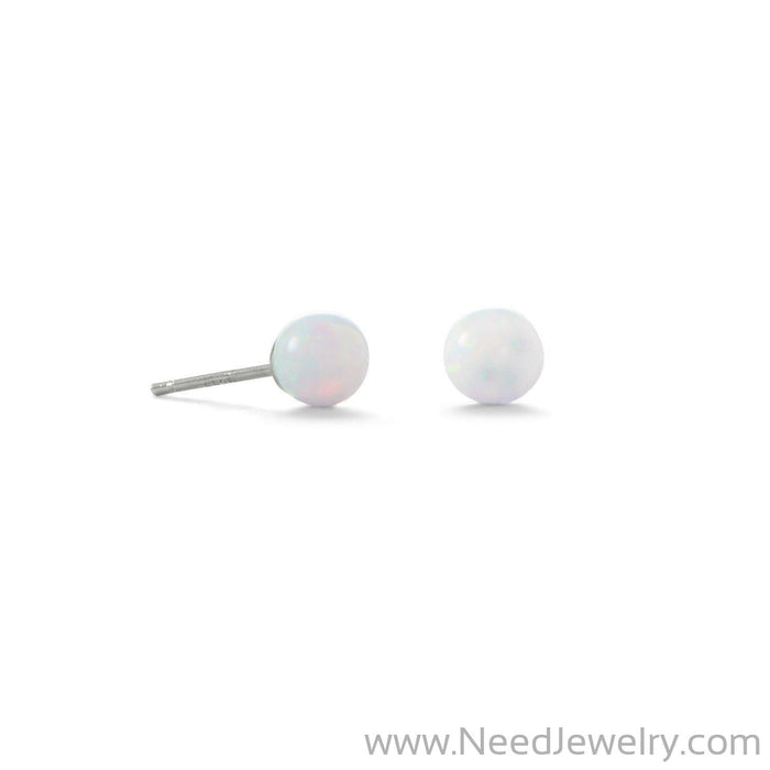 5mm White Synthetic Opal Stud Earrings-Earrings-Needjewelry.com