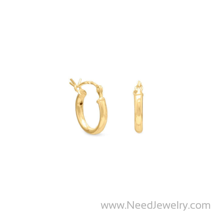 2mm x 12mm Gold Plated Click Hoop-Earrings-Needjewelry.com