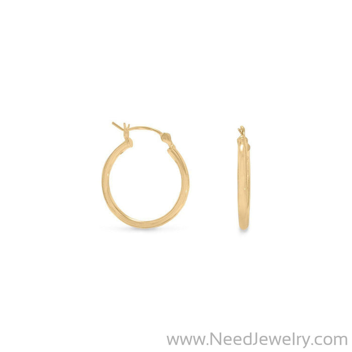 2mm x 20mm Gold Plated Click Hoop-Earrings-Needjewelry.com