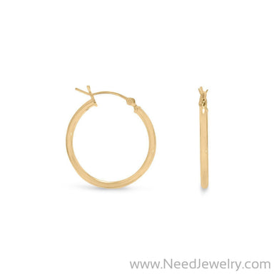 2mm x 24mm Gold Plated Click Hoop-Earrings-Needjewelry.com