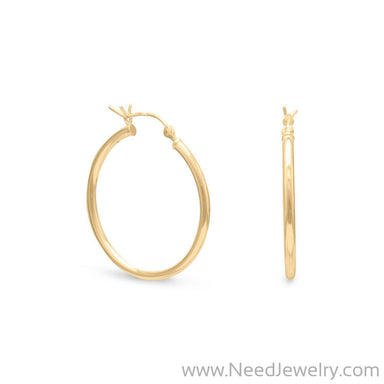2mm x 28mm Gold Plated Click Hoop-Earrings-Needjewelry.com