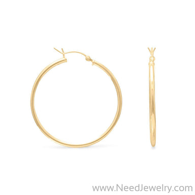 2mm x 35mm Gold Plated Click Hoop-Earrings-Needjewelry.com