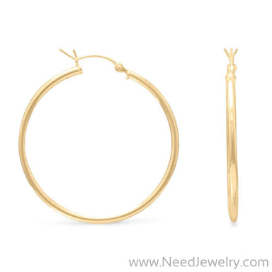 2mm x 50mm Gold Plated Click Hoop-Earrings-Needjewelry.com