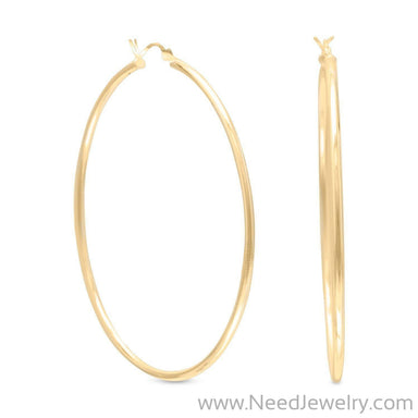 2mm x 60mm Gold Plated Click Hoop-Earrings-Needjewelry.com