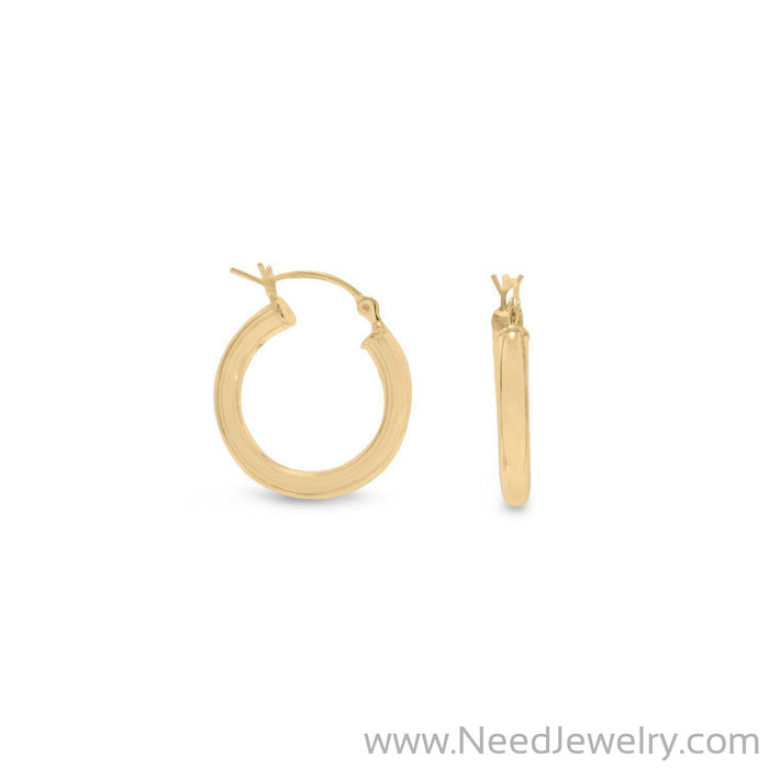3mm x 20 mm Gold Plated Click Hoop-Earrings-Needjewelry.com