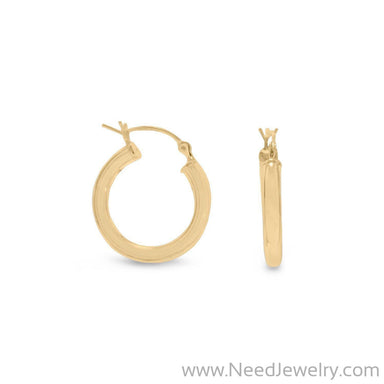 3mm x 22mm Gold Plated Click Hoop-Earrings-Needjewelry.com