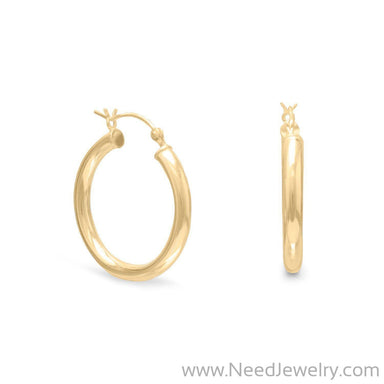 3mm x 25mm Gold Plated Click Hoop-Earrings-Needjewelry.com