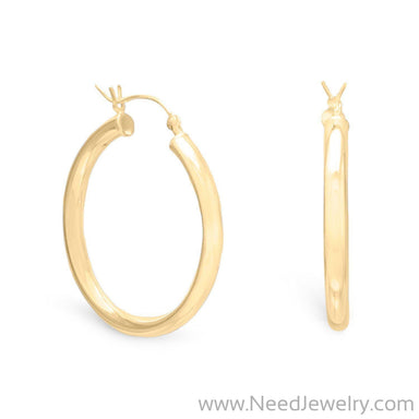 3mm x 30mm Gold Plated Click Hoop-Earrings-Needjewelry.com