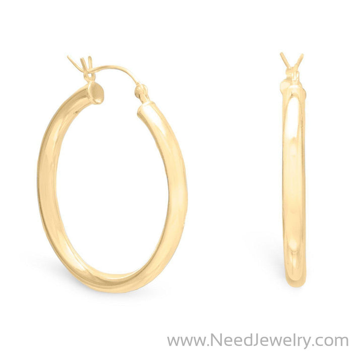 3mm x 35mm Gold Plated Click Hoop-Earrings-Needjewelry.com