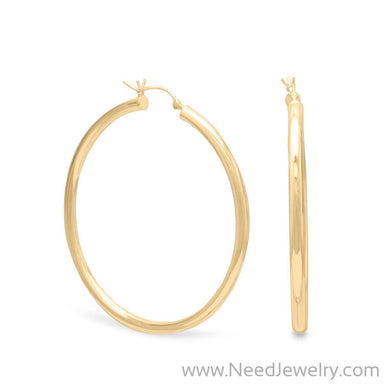 3mm x 40mm Gold Plated Click Hoop-Earrings-Needjewelry.com