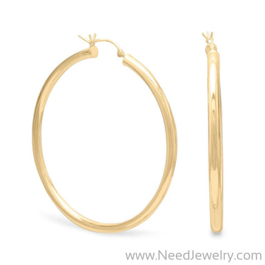 3mm x 50mm Gold Plated Click Hoop-Earrings-Needjewelry.com