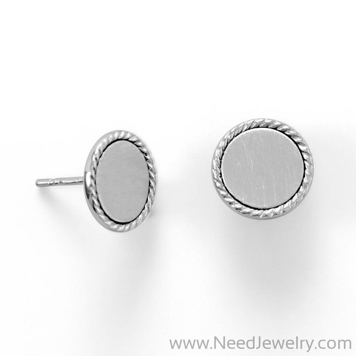 Engravable Rhodium Plated Rope Edge Disk Stud Earrings-Earrings-Needjewelry.com