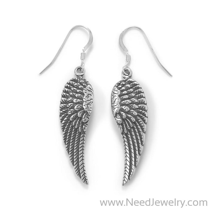 Oxidized Angel Wing French Wire Earrings-Earrings-Needjewelry.com