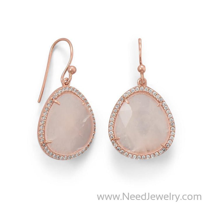 14K Rose Gold Plated Rose Quartz and CZ Earrings-Earrings-Needjewelry.com