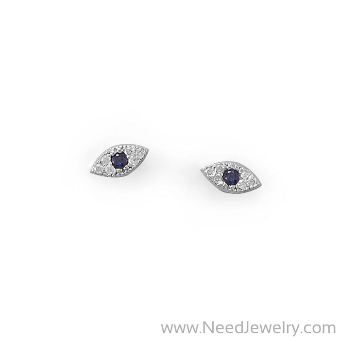 Blue CZ Evil Eye Stud Earrings-Earrings-Needjewelry.com