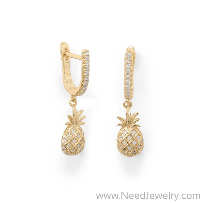Summer Sweetness! Gold Plated Pineapple Earrings-Earrings-Needjewelry.com