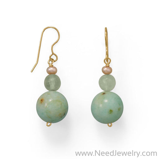 Minty Fresh Agate & Prehnite Earrings-Earrings-Needjewelry.com