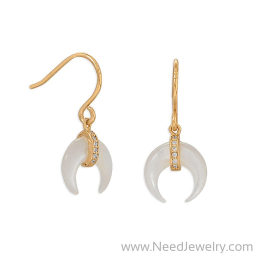 66425-Mother of Pearl and CZ Crescent Gold Plate Earrings-Earrings-Needjewelry.com