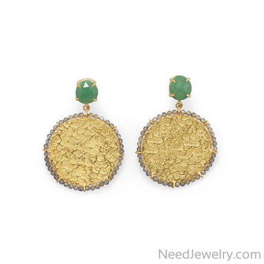 Item # [sku} - 14 Karat Gold Plated Green Aventurine and Labrodorite Earrings on NeedJewelry.com