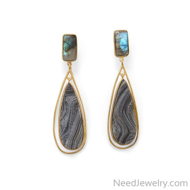 Item # [sku} - 14 Karat Gold Plated Labrodorite and Desert Druzy Earrings on NeedJewelry.com