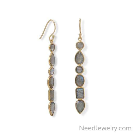 Item # [sku} - 14 Karat Gold Plated Multi Shape Labrodorite Earrings on NeedJewelry.com